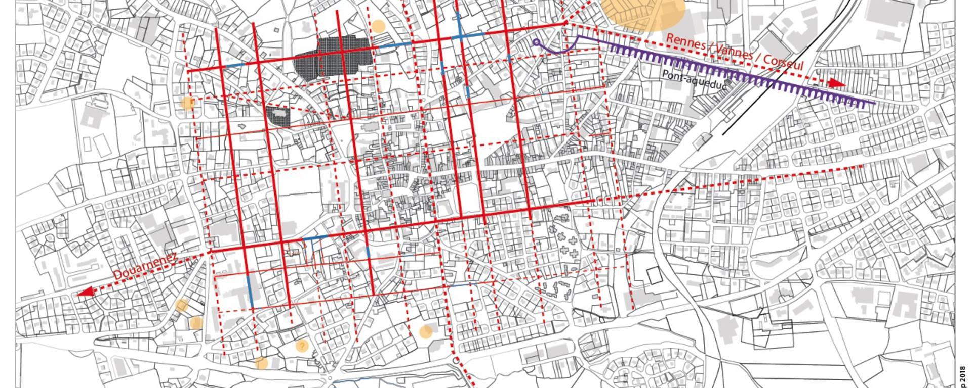 Plan de la ville antique de Vorgium, sur fond du cadastre actuel (G. Le Cloirec, Inrap)
