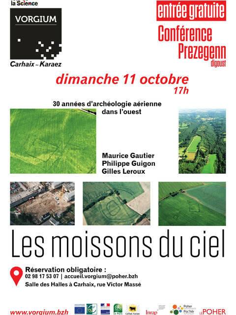 L'affiche de la conférence Les moissons du ciel à Carhaix