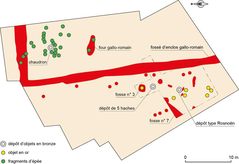 Plan général de la fouilles des dépôts de l'âge du Bronze de Saint-Igeaux (DAO Mathilde Dupré)